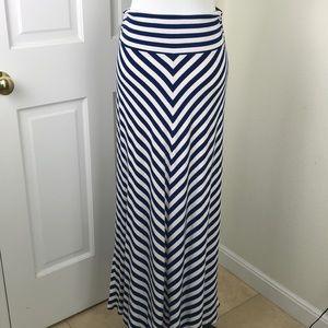Chevron Maxi Skirt Navy White Knit Chevron Stripe